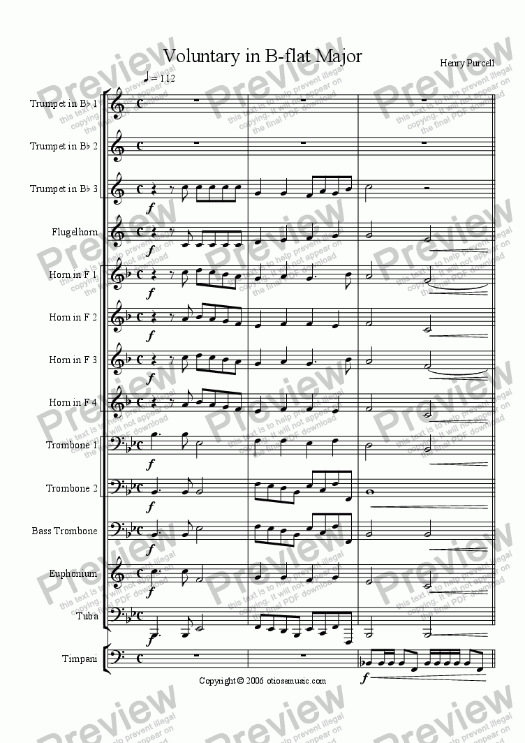 page one of Voluntary in B-flat Major for Brass EnsembleASALTTEXT