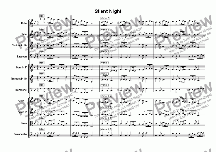 page one of Silent Night