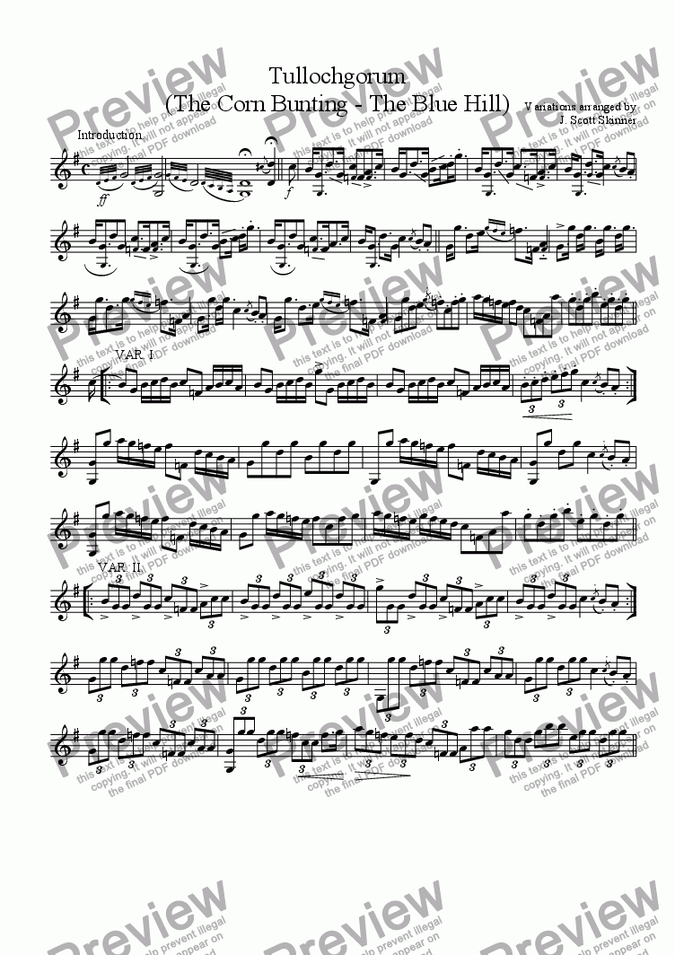page one of Variations on Tullochgorum