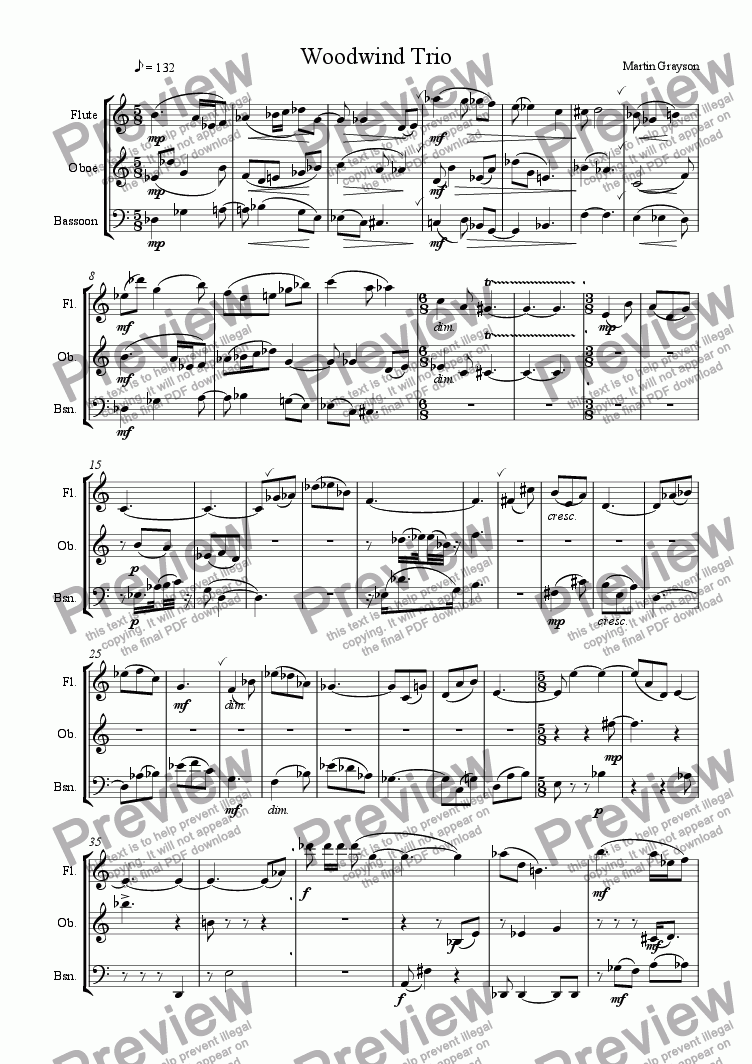 page one of Woodwind Trio