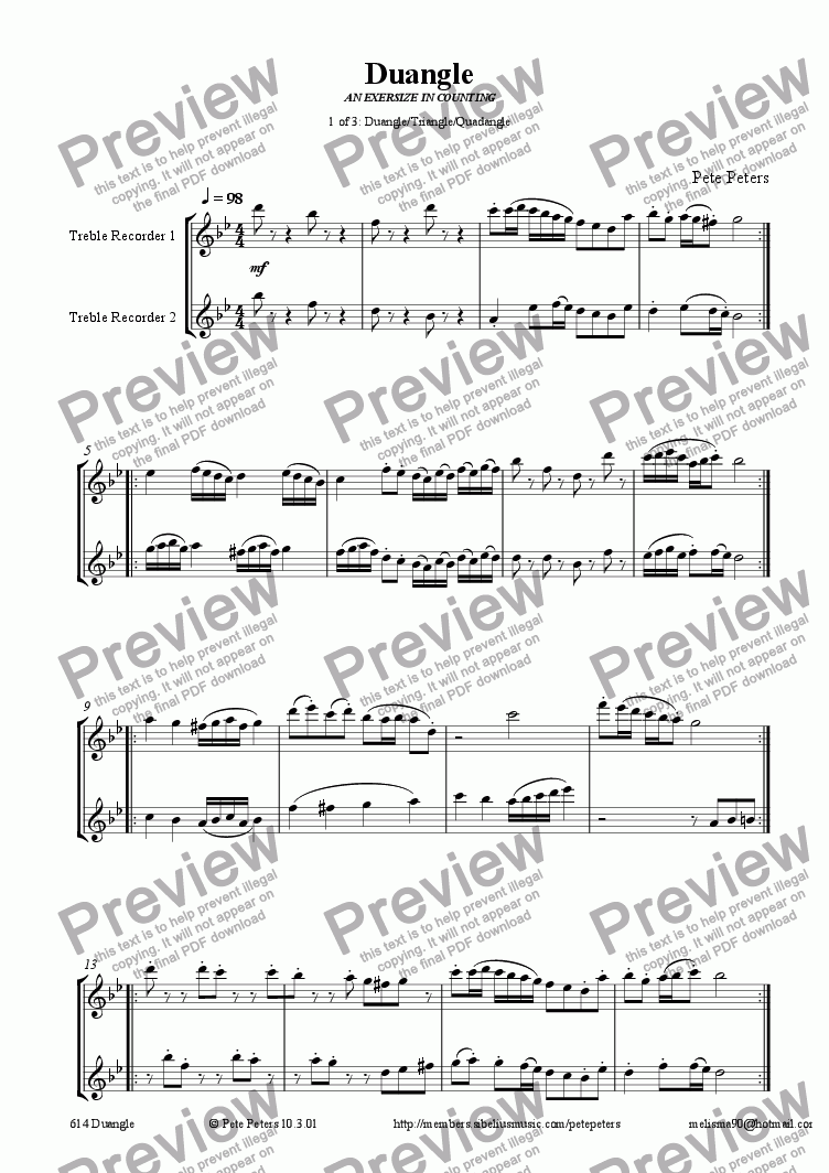 page one of Duangle DUET (1 of 3 pieces as on mp3) [Triangle/Quadangle] recorder q.v.ASALTTEXT