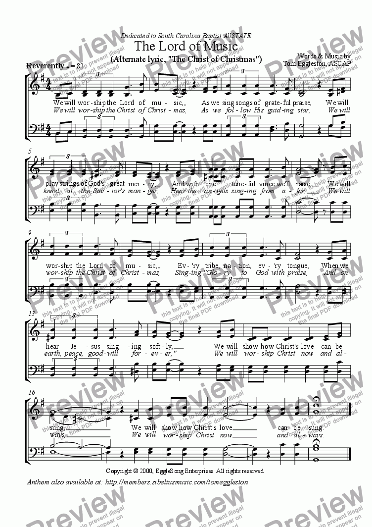 page one of The Lord of Music Hymn