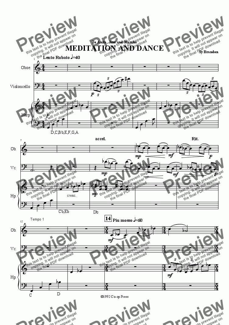 page one of Meditation and Dance for Oboe, Cello and Harp