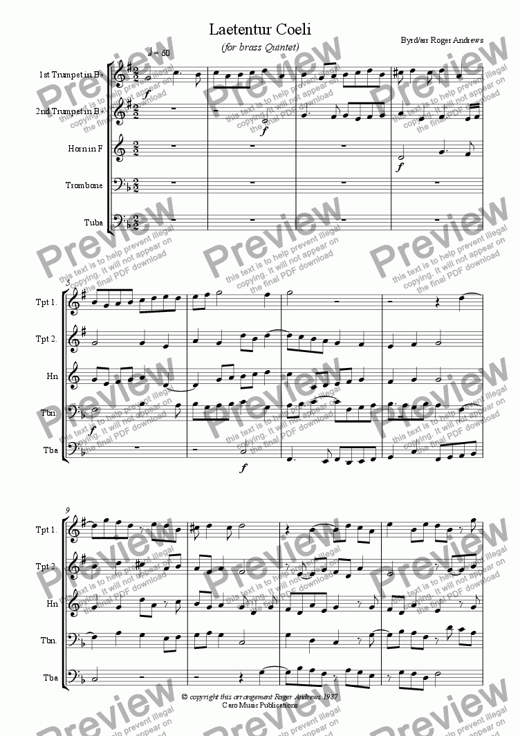 page one of Laetentur Coeli (for Brass Quintet)