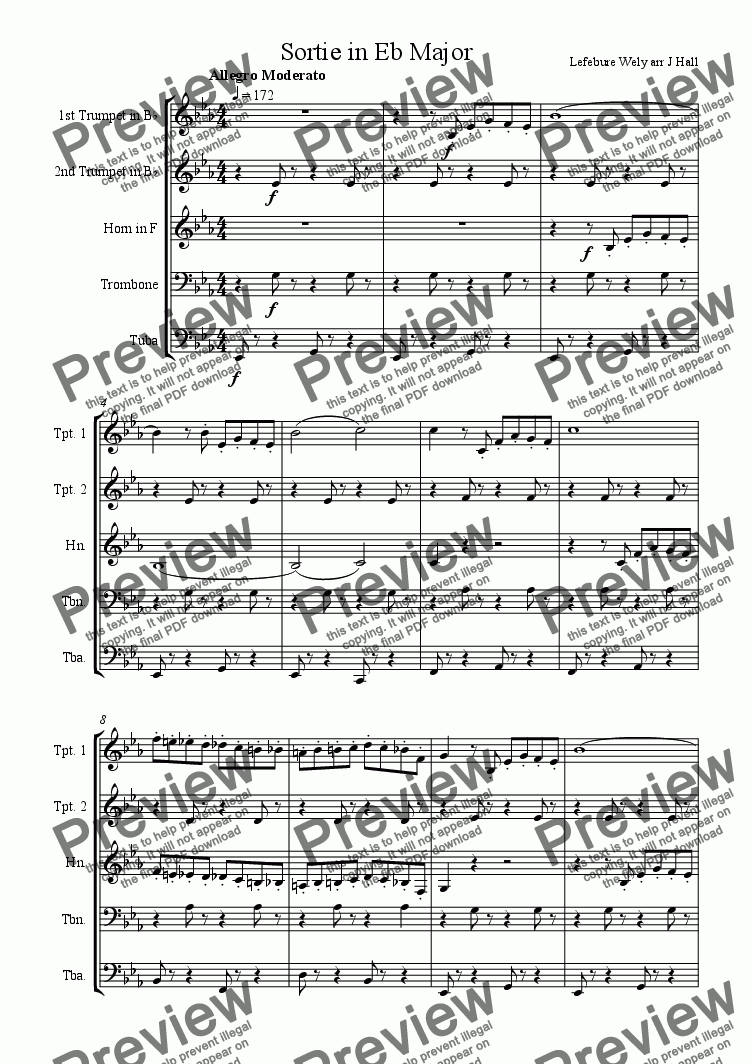 page one of Sortie in E Flat Major