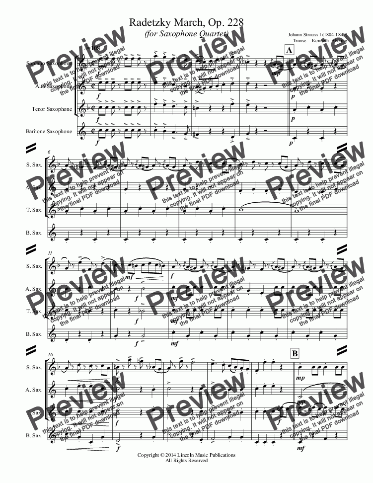 page one of March - Radetzky - March, Op. 228 (Sax Quartet SATB)ASALTTEXT