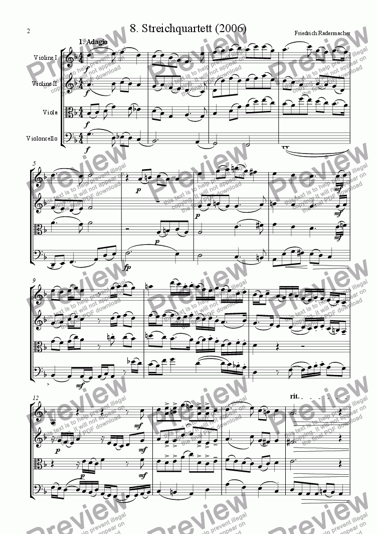 page one of 8. Stringquartet