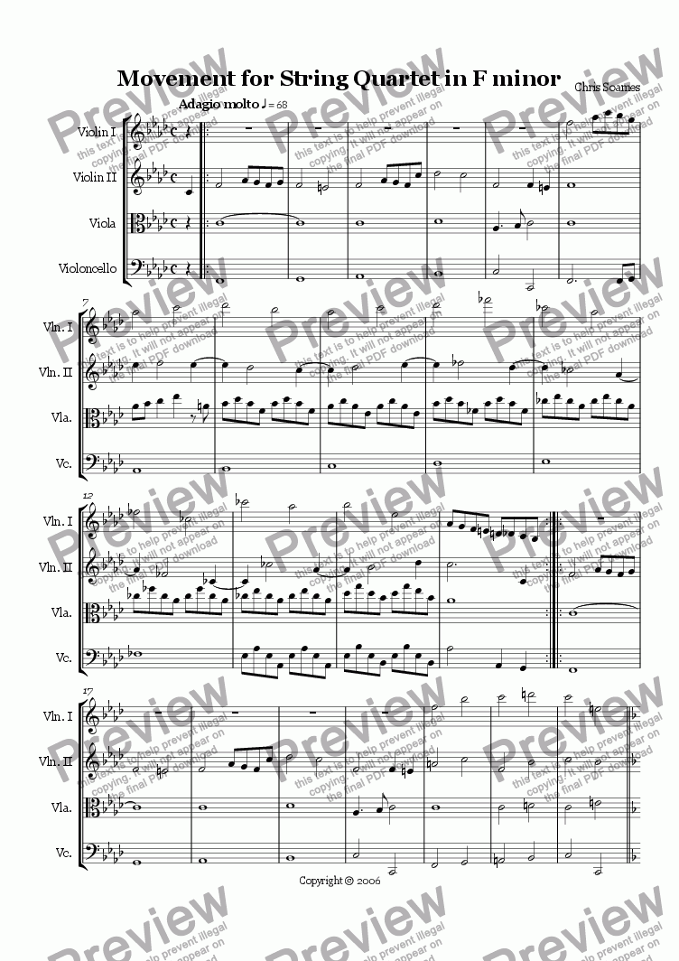 page one of Movement for String Quartet in F minor Op.3b