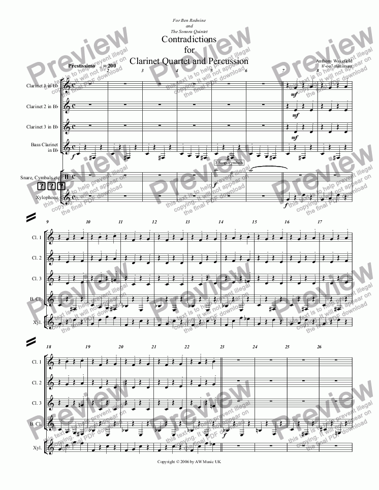 page one of Contradictions for Clarinet Quartet and PercussionASALTTEXT