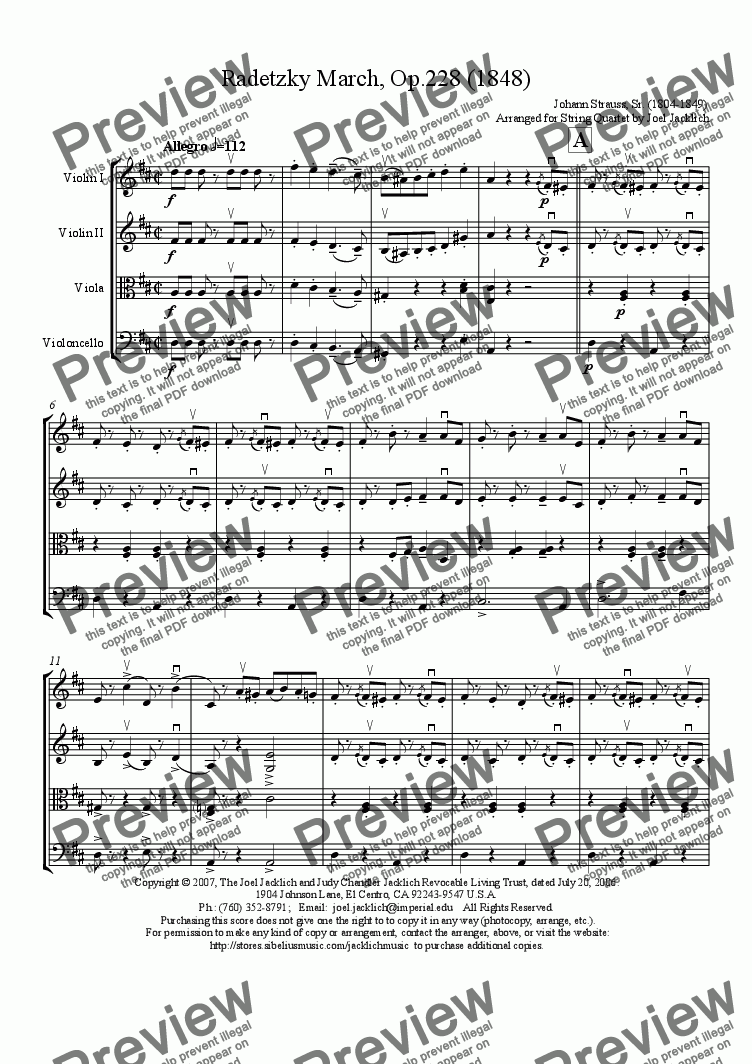 page one of Radetzky March, Op. 228