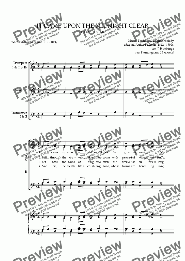page one of NOEL (It came upon the midnight clear) - arrangement & descant