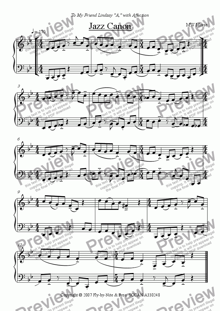 Jazz Canon for Solo instrument (Piano) by Michael Morse - Sheet Music PDF  file to download