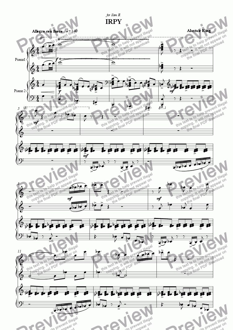 page one of Irpy - piano four hands