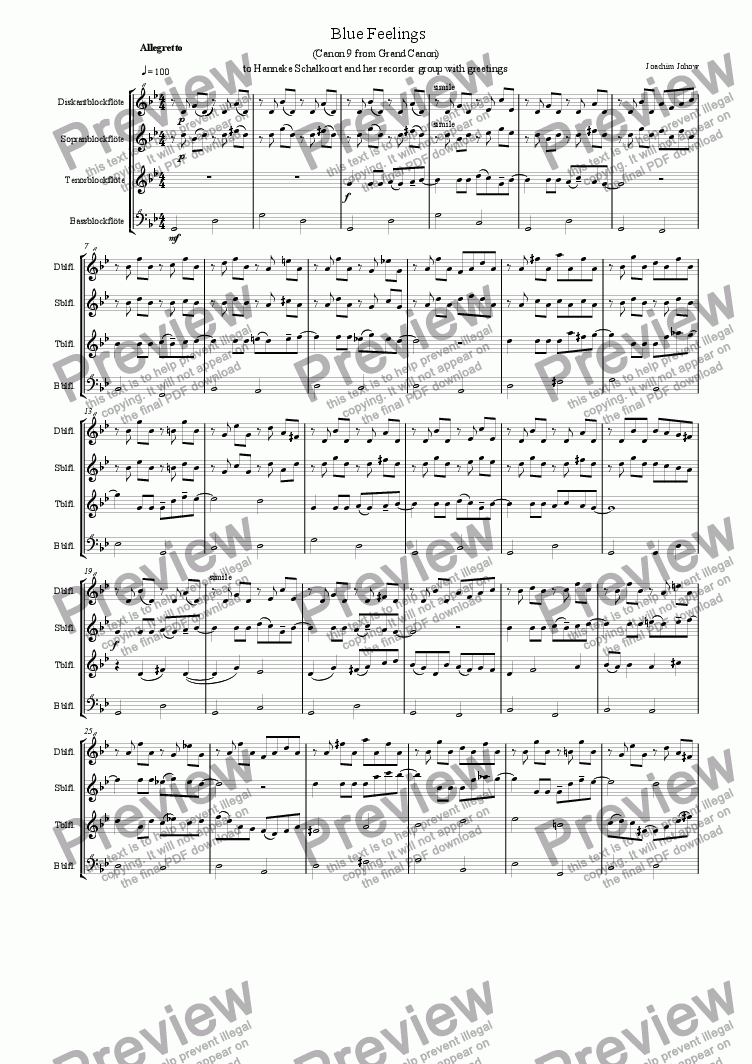 page one of Blue Feelings (Recorder ensemble)