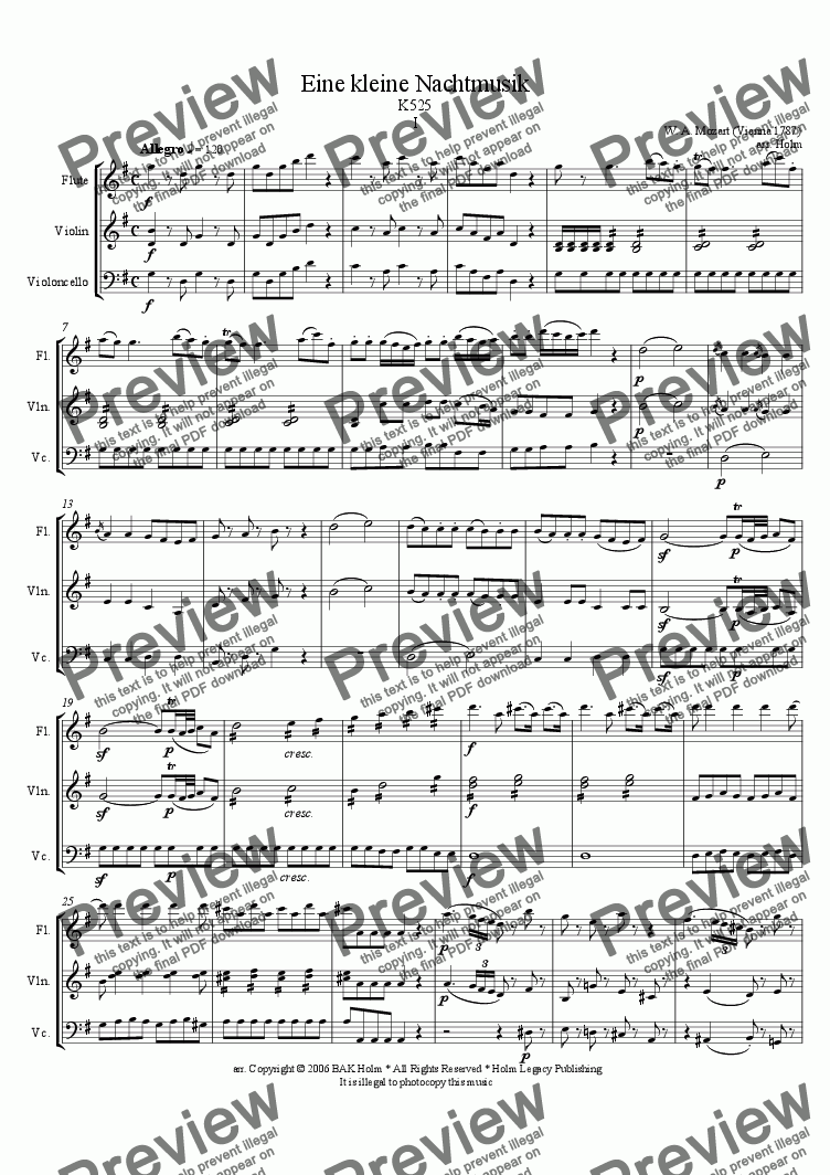 page one of Allegro - Eine Kleine Nachtmusik (flute, violin, and cello)