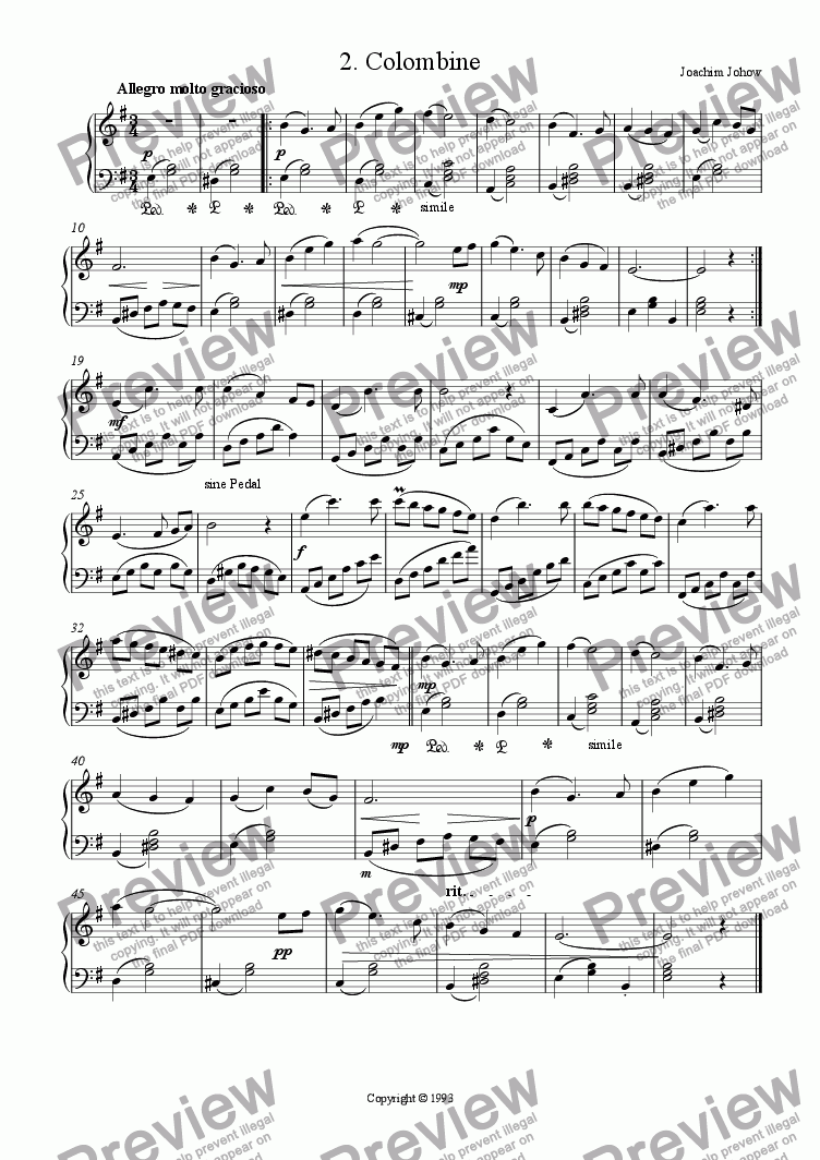 page one of Piano Book 002 (Colombine)
