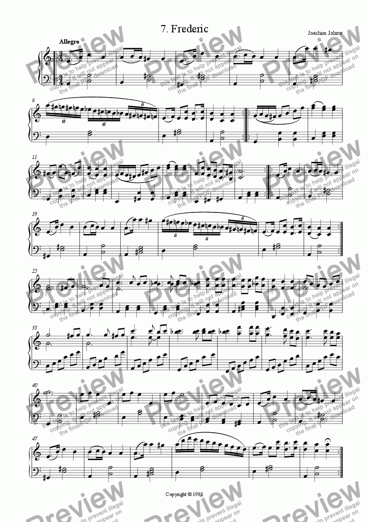 page one of Piano Book 007 (Frederic)