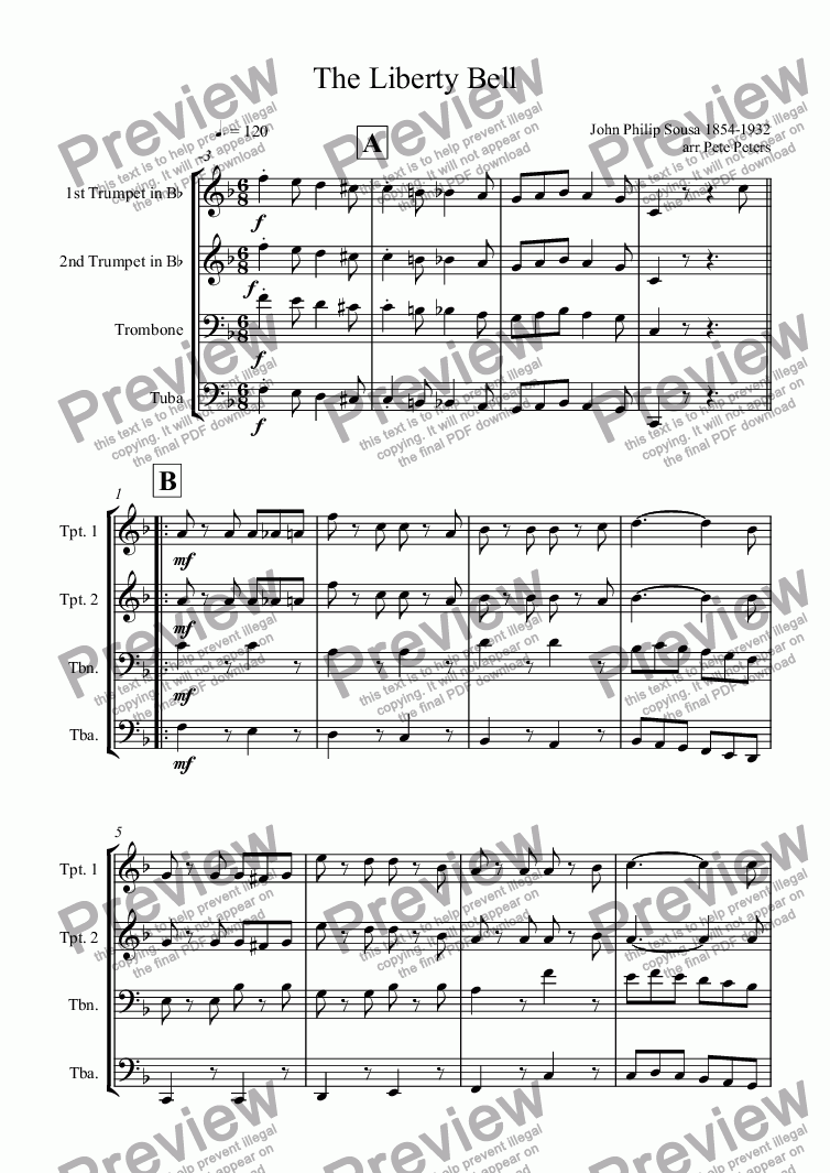 page one of The Liberty Bell [Brass 4tet]