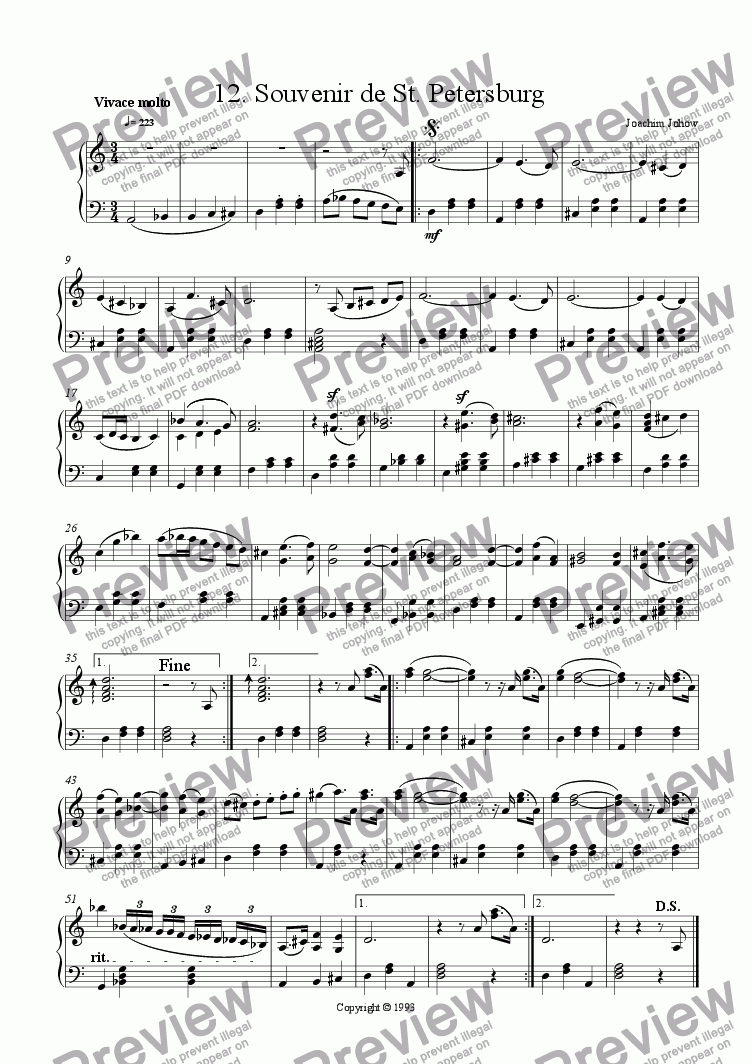page one of Piano Book 012 (Souvenir de St. Petersburg)
