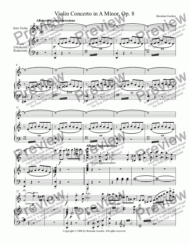 page one of Violin Concerto in A Minor (I) -- violin with piano acc.