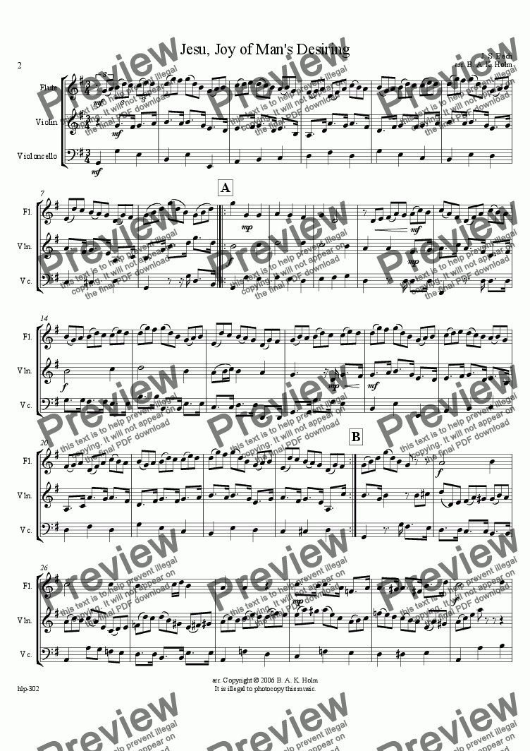 page one of Jesu, Joy of Man's Desiring -Bach (flute, violin, and cello)