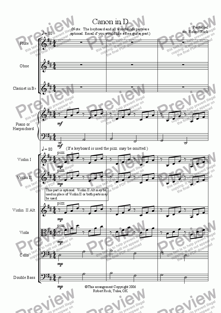 page one of Canon in D (String Orchestra w/optional Woodwinds and Keyboard)