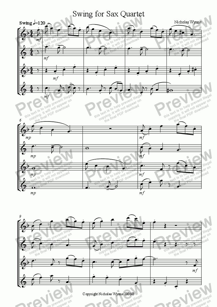 page one of Swing for Sax Quartet