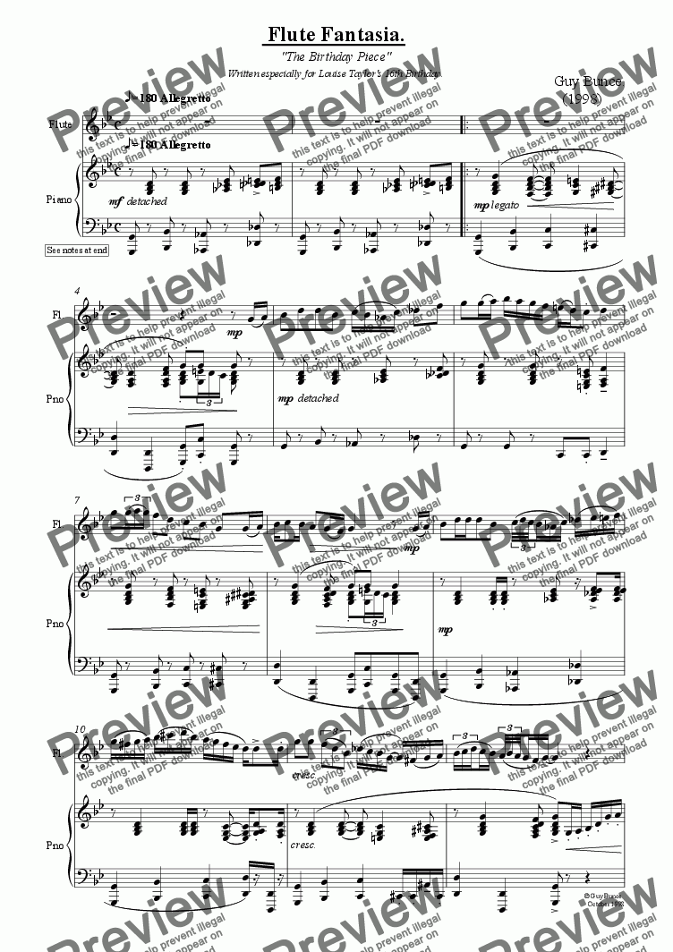 page one of Flute Fantasia