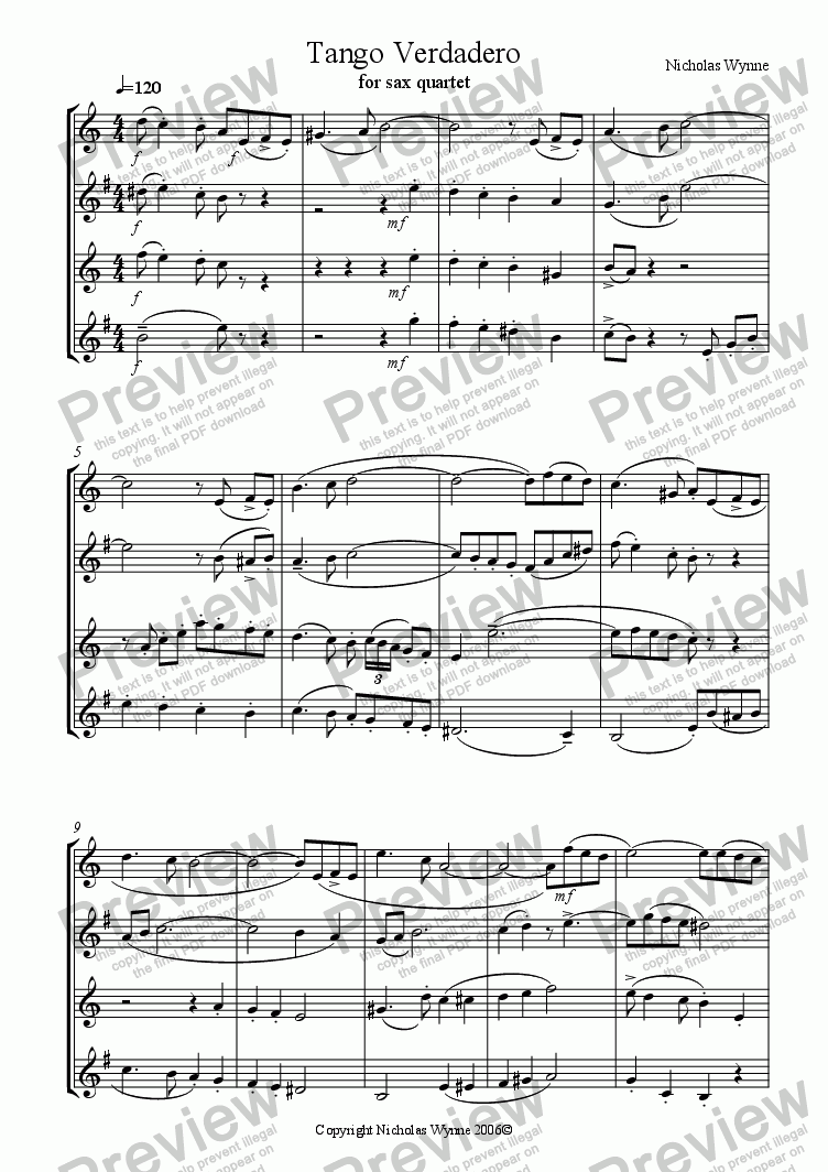 page one of Tango Verdadero for Sax Quartet