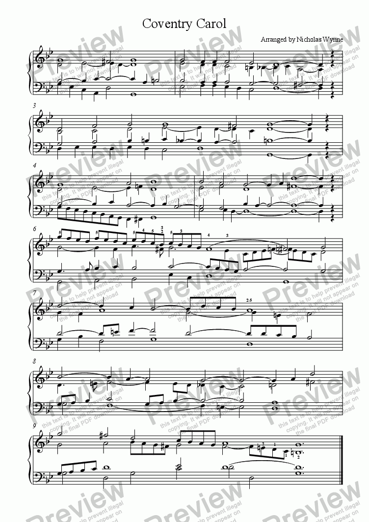 page one of Coventry Carol for Keyboard