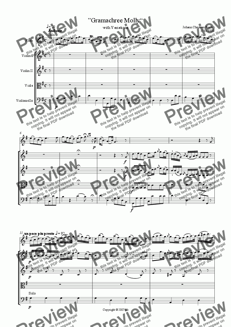 page one of «Gramachree Molly» for Flute and Strings
