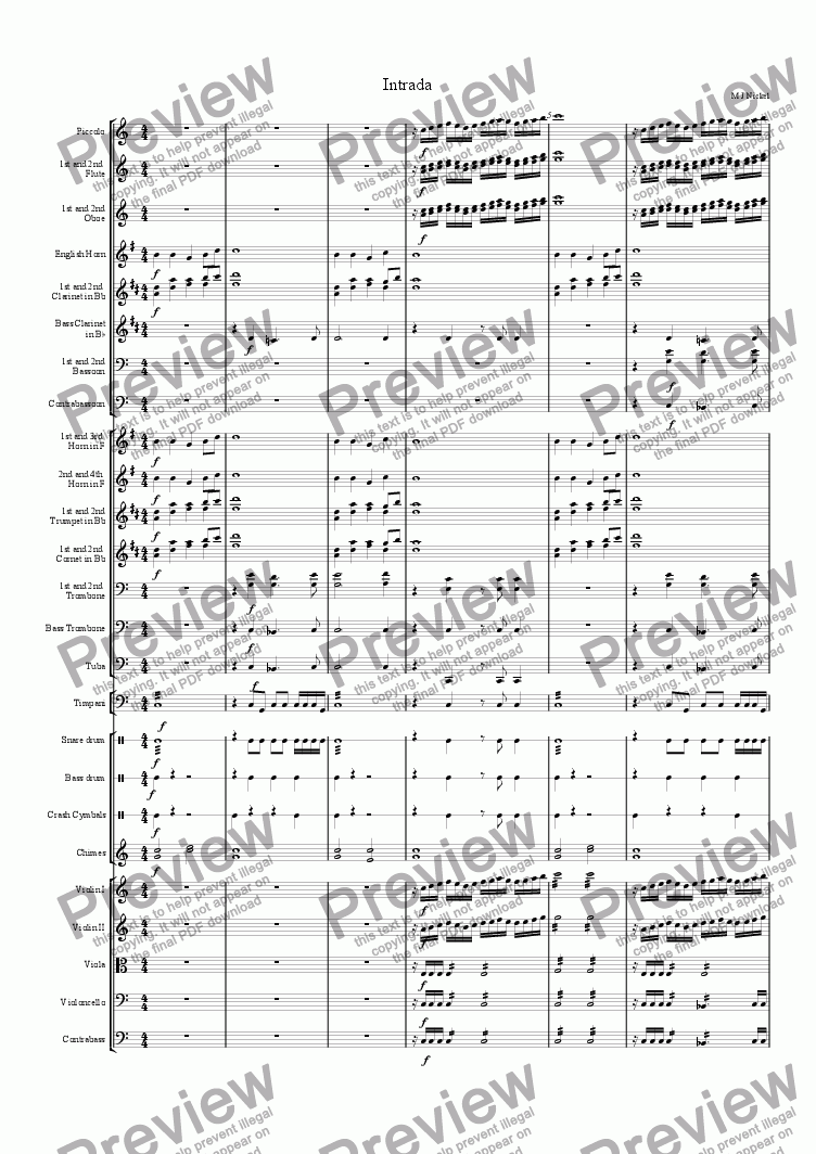 page one of Intrada for Orchestra