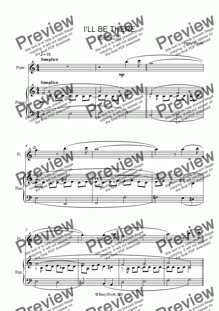 page one of I'll be There (flute)