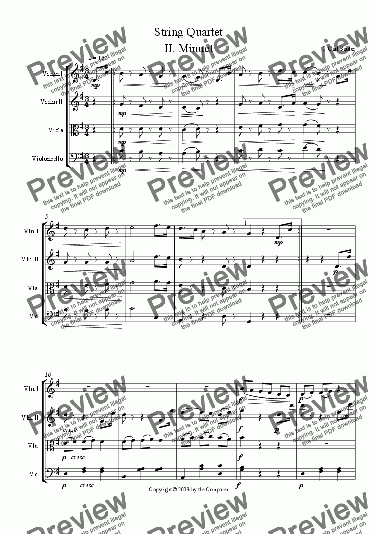 page one of String Quartet Movement II