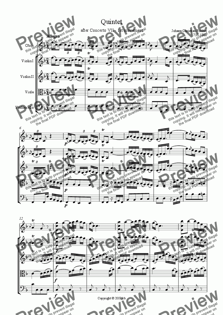 page one of Oboe Concerto No. 7 - 1st mvt Allegro