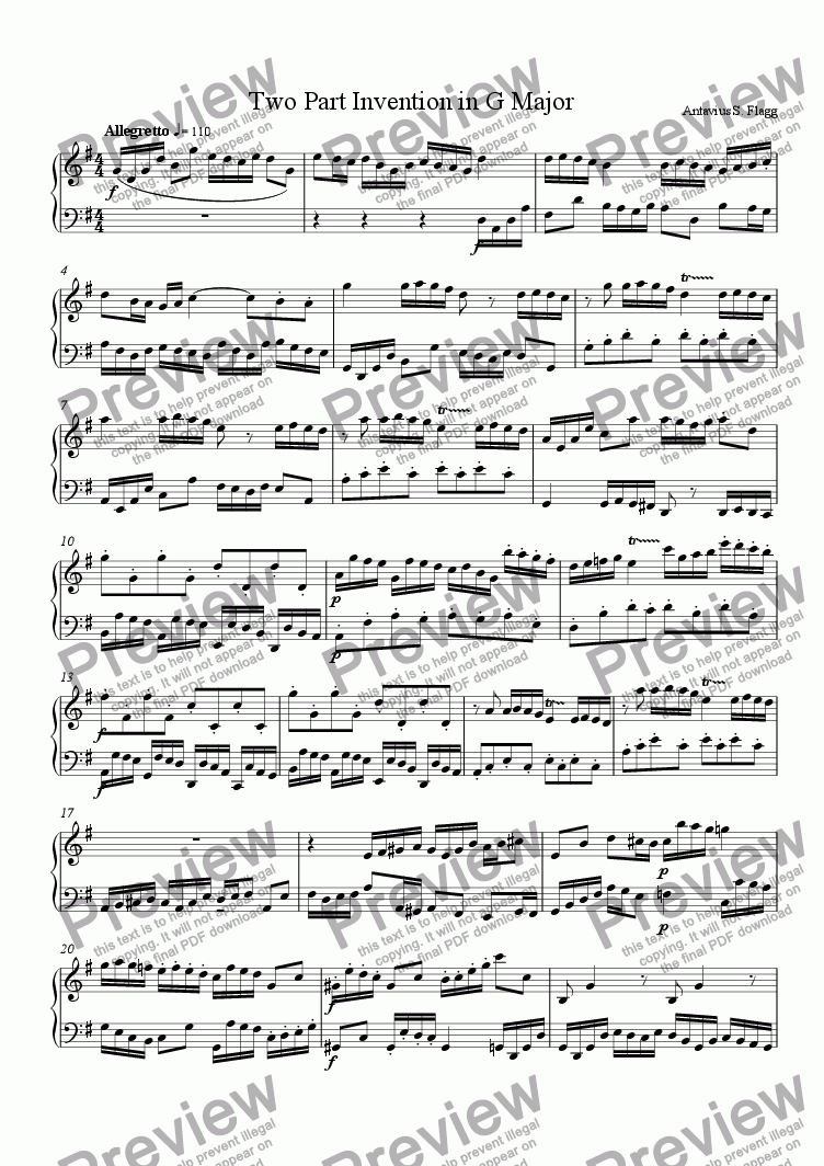 page one of Two Part Invention in G Major