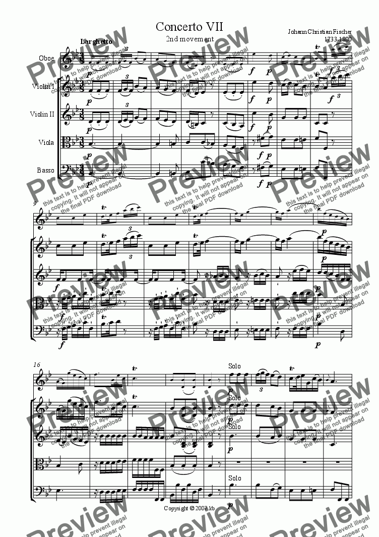page one of Oboe Concerto No. 7 - 2nd mvt Larghetto