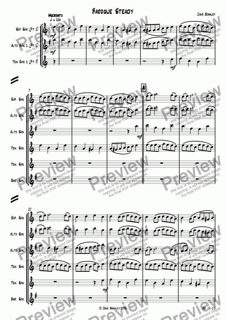 page one of Baroque Steady