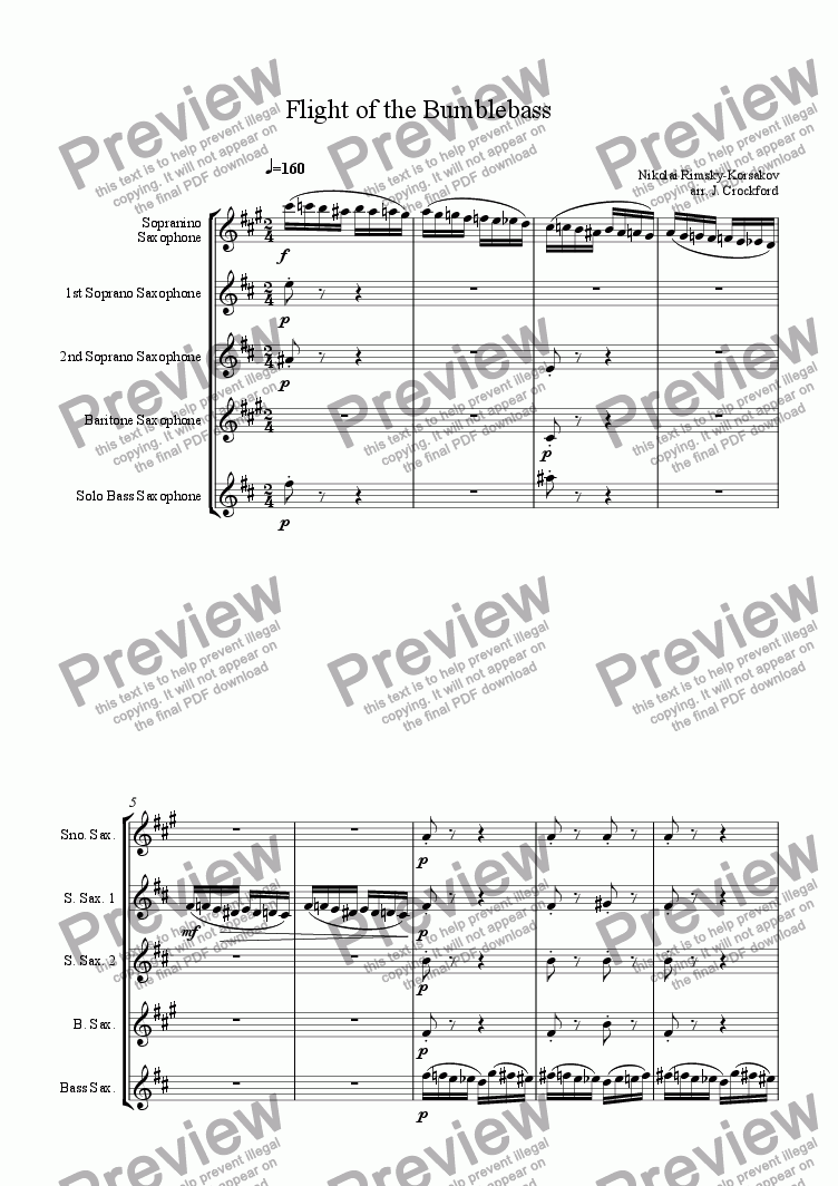 page one of Flight of the Bumble Bass for Saxophone Quintet (SnSSBBs)