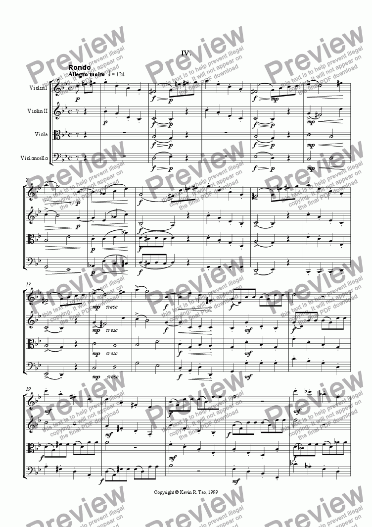page one of String Quartet in G minor (IV)