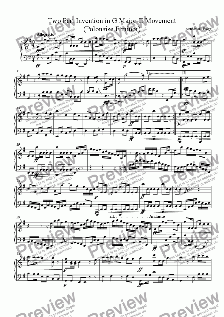 page one of Two Part Invention in G Major-II Movement (Polonaise in E Minor)