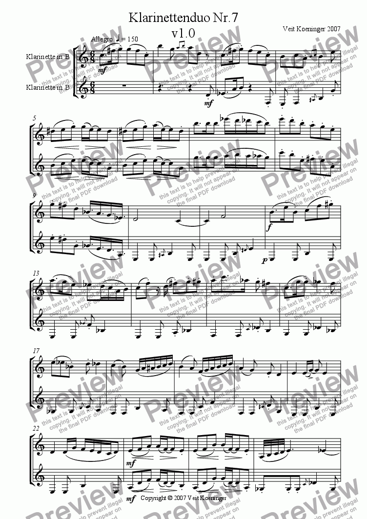 page one of Clarinet duo 7