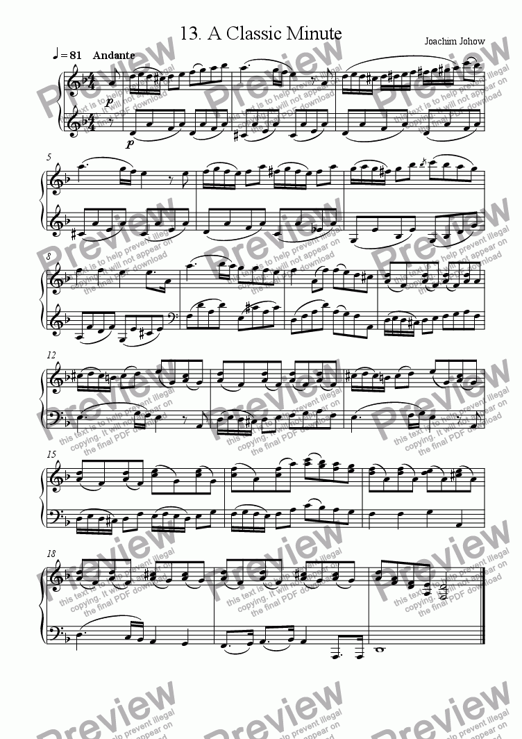 page one of Piano Book 013 (A classic Minute)