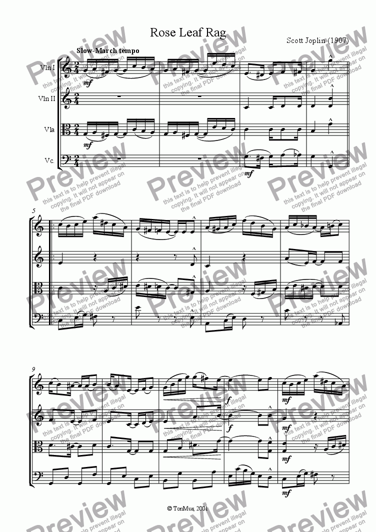 page one of Rose Leaf Rag