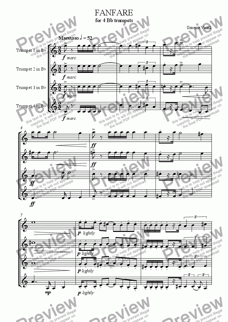 page one of Fanfare for 4 Trumpets