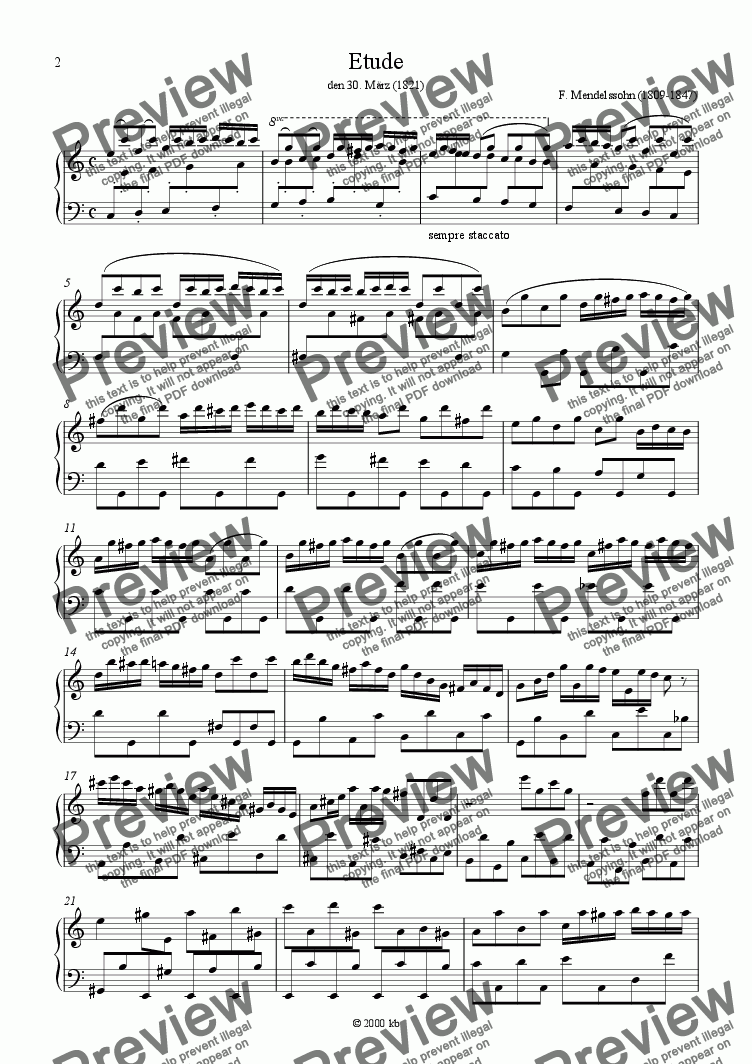 page one of Mendelssohn: Etude in C for Piano