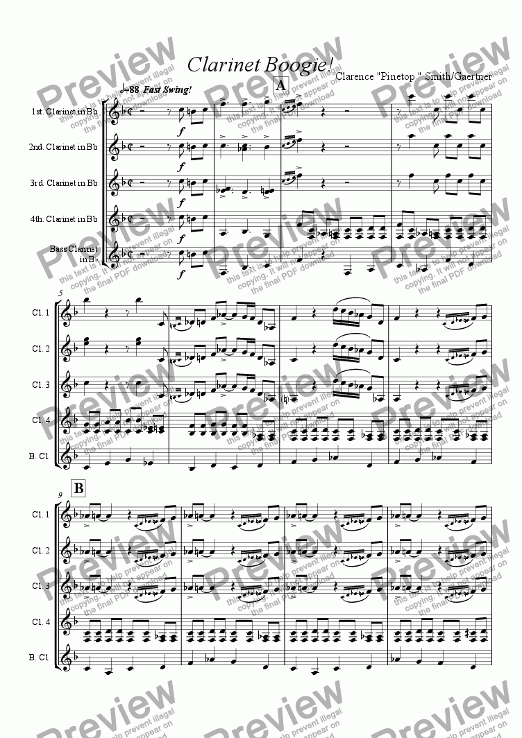 page one of Clarinet BoogieASALTTEXT