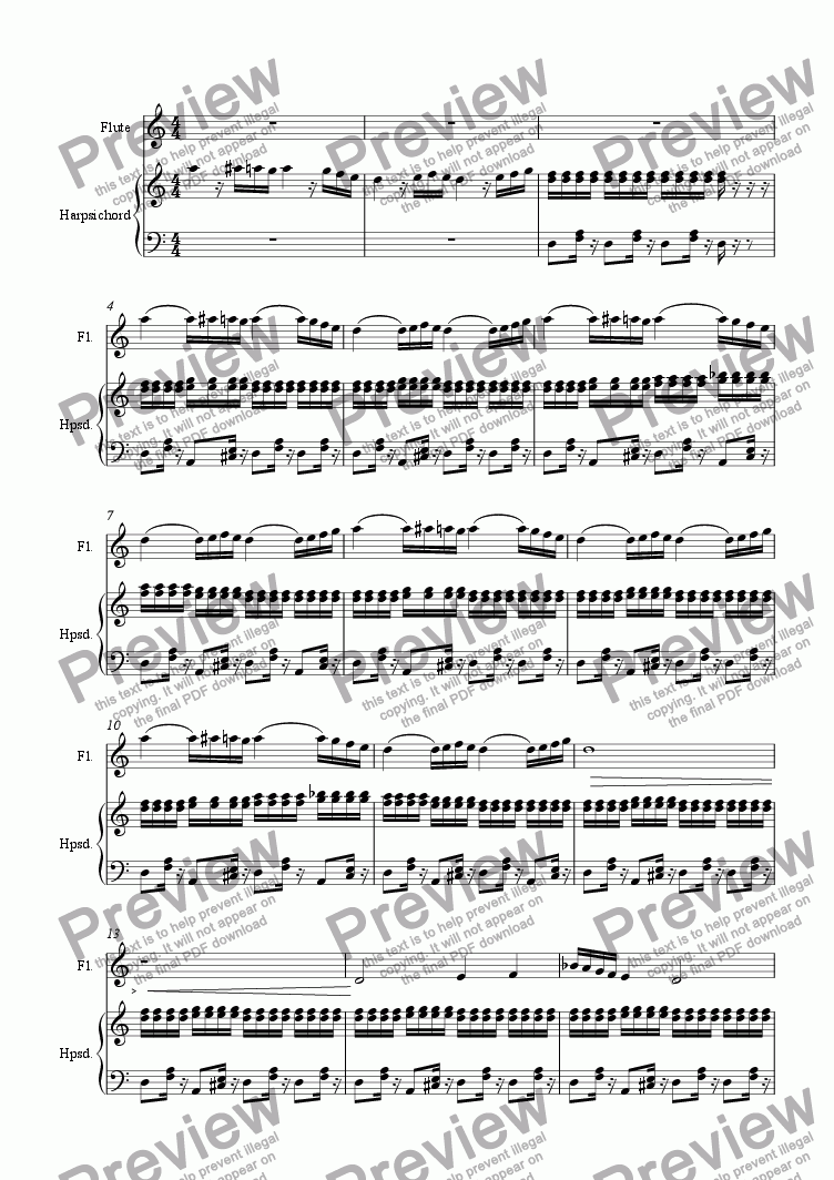 page one of Piece with Flute and Harpsichord