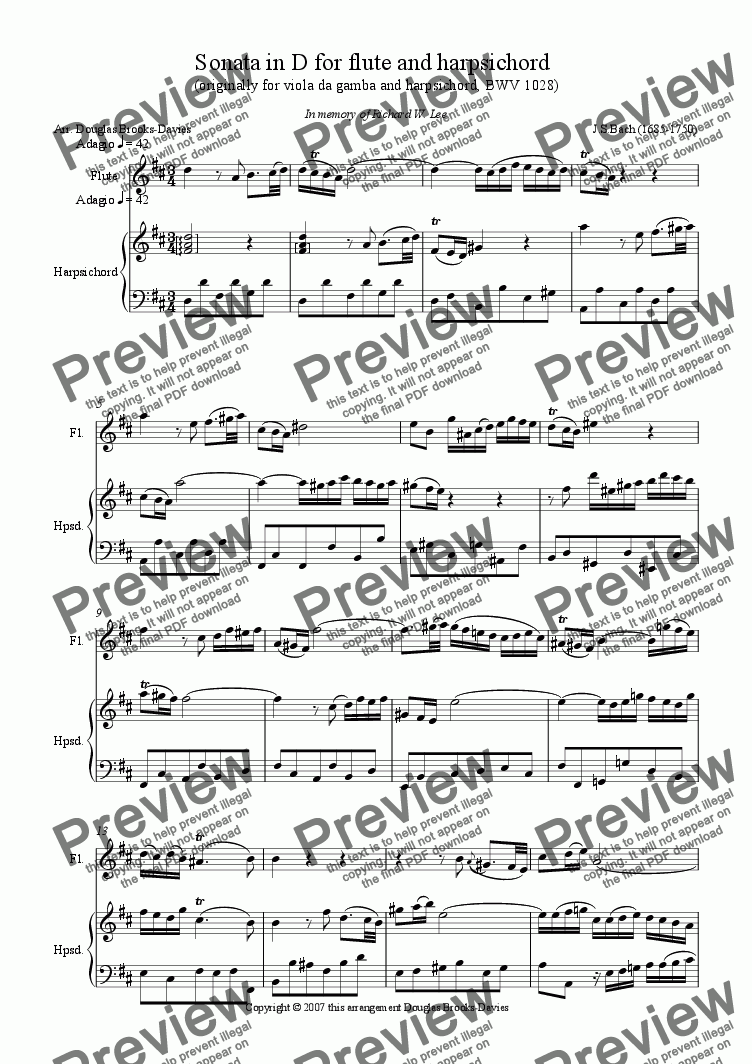 page one of Bach, J.S.: Flute Sonata in D (BWV 1028) from the viola da gamba sonata.