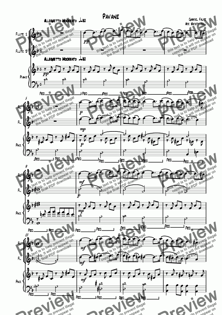 page one of Pavane (Flute duet)